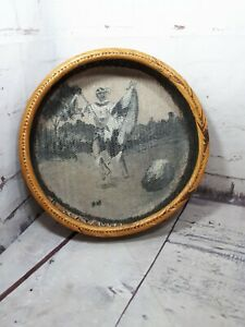 Vintage Handmade Round Wicker? Rattan Wall Fruit Basket