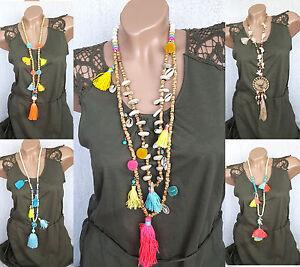 Damen ibiza hals kette,lang,Modekette,Mehrfarbig,Hippie trend damen kette
