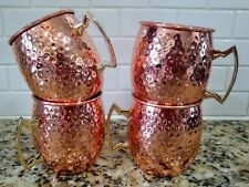 """Moscow Mule Mugs Hammered Copper Plated - Set of 4  18 Oz  4"""" x 3"""" Country Decor"""