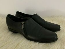 Munro American Women's Derby Black Leather Loafers Shoes Side Zip Size 8.5 N
