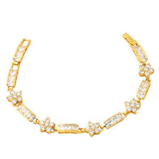 Clear White Cubic Zircon 18k Gold Plated Tennis Bracelet Bangle Bridal Jewellery