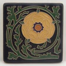 4x4 Arts & Crafts Tudor Rose Tile in Golden by Arts & Craftsman Tileworks