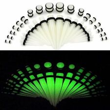 36pc Glow In The Dark Acrylic Tapers Plugs O-Ring Ear Stretching Gauges Kits