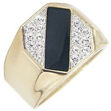 18K GOLD EP MENS ONYX DIAMOND SIMULATED RING sz 10 or T 1/2