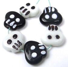 Lampwork Handmade Glass Black White Skull Halloween Beads 14-16mm