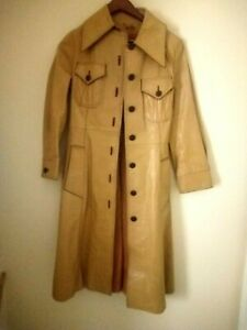 Women's Leather Trench Coat Vintage 70's Leather Coat