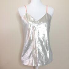 Vintage Women's Sz S / M Metallic Silver Camisole Top Pink Straps Sleeveless