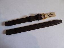 Old New Stock DARLENA Genuine Brown Leather Wristwatch Strap 12 mm Gilt Buckle