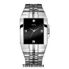 NEW GUESS WATCH for Men Black Dial w/All Polished Silver Tone Bracelet U10014G1