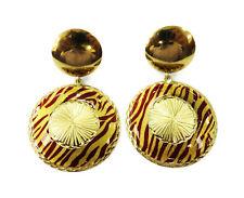 18k Yellow Gold Double Circle Enamel Hanging Drop Ladies Earrings ~ 15.6g