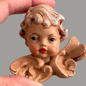1970er Handbemalter Engel Kopf Blaue Augen 7cm Höhe Flügel Keramik? Süß Vintage