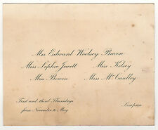1900s WELLESLEY COLLEGE Calling Card SOPHIE JEWETT Mrs Edward Woolsey Bacon MASS