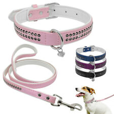 Bling Rhinestone Dog Collar and Leash Set with Diamond Heart Pendant XS S M L