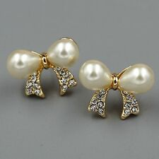 Cute 18K Gold Plated Clear Crystal Rhinestone Pearl Bow-Knot Stud Earrings 08432