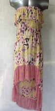 Rivers Sheer High Low Dress Sleeveless Pretty Cream, Pink and Yellow BNWT Sz 18