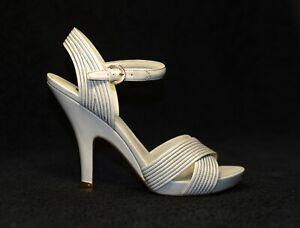 1000$ LOUIS VUITTON LV grey ankle strap platform shoes sandals heels 40 us9 uk7