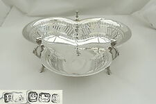 RARE VICTORIAN HM STERLING SILVER PIERCED TRI FOOTED BOWL 1899