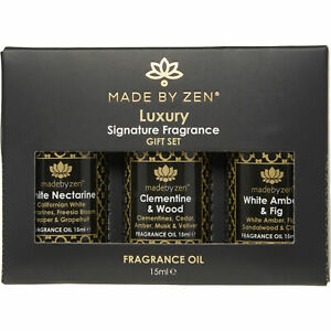 Made By Zen Luxury Signature Fragrance Essential diffuser Oil Gift Set 3x15ml