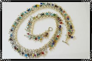 NEW Colorful CRYSTAL Charm NECKLACE - Handcrafted DELICATE Fringe-ONE Of A Kind