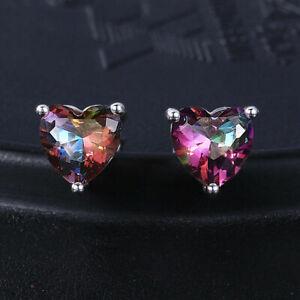 925 Sterling Silver Mystic Topaz Heart Stud Earrings