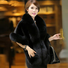 Luxury Womens Ladies Faux Mink Cashmere Party Wedding Winter Long Fur Coat Shawl Classic Black