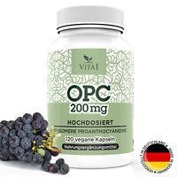 OPC Traubenkern-Extrakt 120 Kapseln Tabletten hochdosiert 200mg vegan