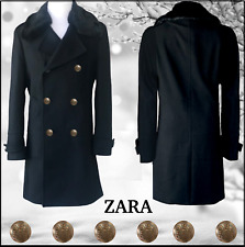 ZARA MAN Size L BLACK 80% WOOL COAT wREMOVABLE FAUX FUR COLLAR $249