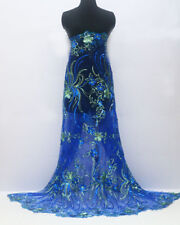 """1 Meter Flower Embroidery Sequins Mesh Dress Bridal Lace Fabric 52"""" Wide"""