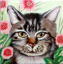 "Cat Flowers Ceramic Picture Tile Kitchen Wall Plaque Animals Gift New 8x8"" 05294"