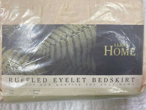"""LL Bean Eyelet Lace Cream Off White Natural Queen Bed Skirt 15"""" drop  -NIP"""
