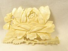 """Vintage Pretty Hand Carved Cow Bone Rose Flower Wide 2.5"""" Pin Brooch"""