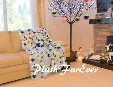 5' Turquoise Tone Rainbow Blankets/ Faux Fur Throws/ PlushFurEver Bedding Decor