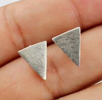 Solid 925 Sterling Plain Silver Handmade Triangle Shape Party Wear Stud Earring