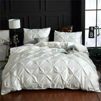 Pinch Pleated Bedding White Silk Like Satin Duvet Cover Set Pintuck Ruffle Desig