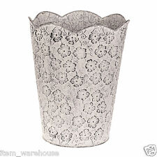 Vintage Cream Floral Waste Bin Paper Basket Office Dustbin Rubbish FREE DELIVERY