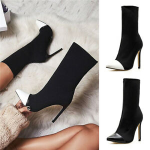 Ladies Pointed Toe Stiletto Ankle Boots Sexy Women Stretch Elastic Sock Booties