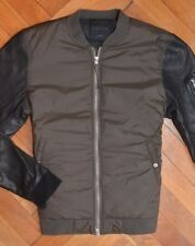 AllSaints Mens's Khaki Green Black MANTA Leather Bomber Jacket Large
