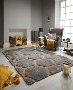 VERGE HONEYCOMB THICK HEAVY PILE SOFT HAND CARVED SHAGGY 3D RUG IN GREY OCHRE