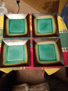 """4 Better Homes & Gardens Jade Crackle Square Salad Lunch Plate 8"""""""