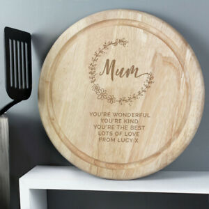 Personalised Mum Round Wooden Chopping Board Mother's Day Gift Mummy Birthday