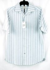 NWT Crosby & Howard Men's Medium Gray Stripe Short Sleeve Button-Front Shirt NEW