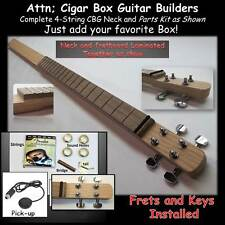 Cigar Box Guitar.Parts Kit, Hardwood Neck 4 string. Everything except the Box
