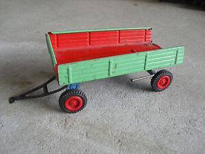 "Vintage 1950s Tin Dumping Farm Trailer 5 1/4"" Long LOOK"