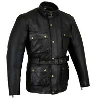Black Tab Vintage Wax Oiled Leather Motorcycle Classic Bikers Jacket CE1621-1