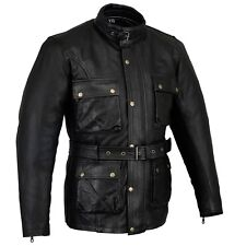 BUSA Bikers Gear Vintage Wax Oiled Leather Motorcycle Classic Biker Jacket CE