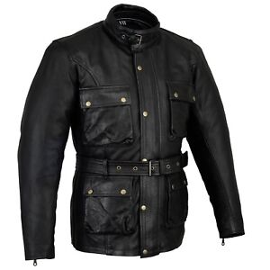 BUSA Old Tom Vintage Wax Oiled Leather Motorcycle Classic Biker Jacket CE 1621-1
