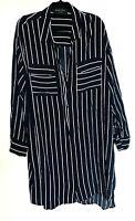 DECJUBA Navy White Striped L/S Button 4 Pocket T Shirt Blouse Top Dress Size L