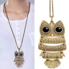 Vintage Copper Bronze Lovely Gift Owl Charm Pendant Necklace Retro Long Chain