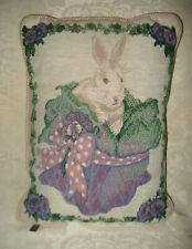 "White Rabbit, Flowers, Leaves, Plaid Back, Easter Bunny Tapestry Pillow 14""x10"""