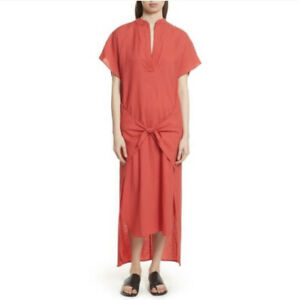 VINCE Womens Wrap Front Midi Maxi Dress in Red Size Small Beachy Airy